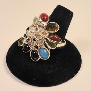 Jewelry - Real Gemstone Cluster Ring Coral Jade Opal Ruby +